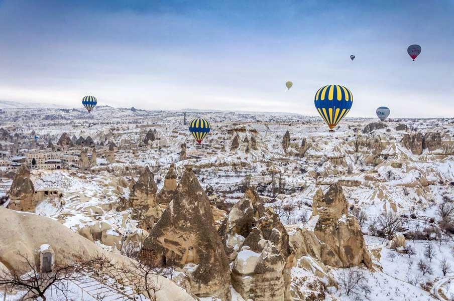 Cappadocia ballons and snow